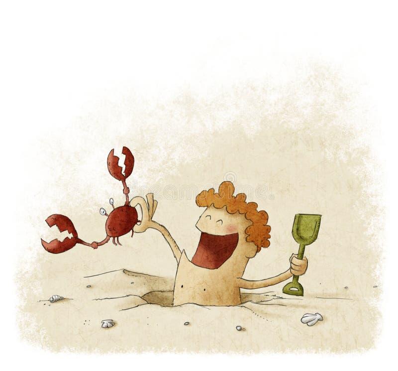 Gosse jouant dans le sable illustration stock