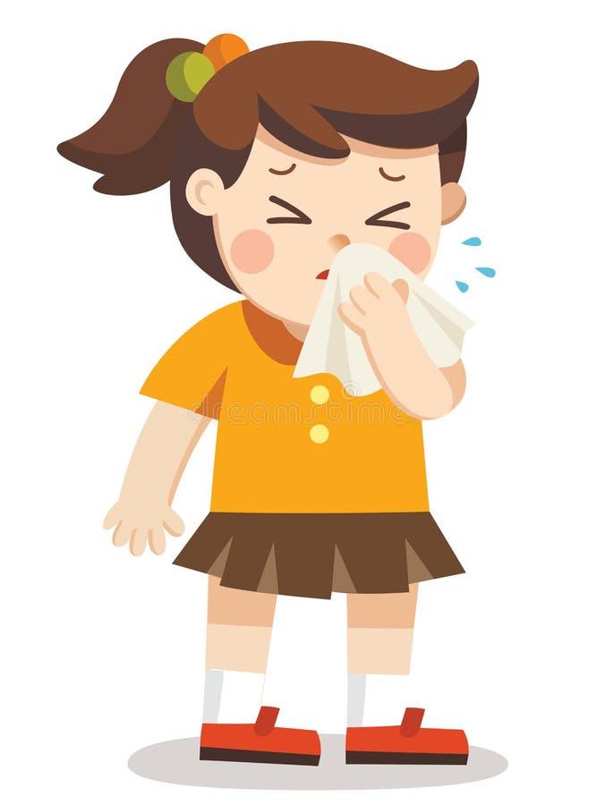 Gosse malade Un garçon avec le mouchoir à disposition illustration de vecteur