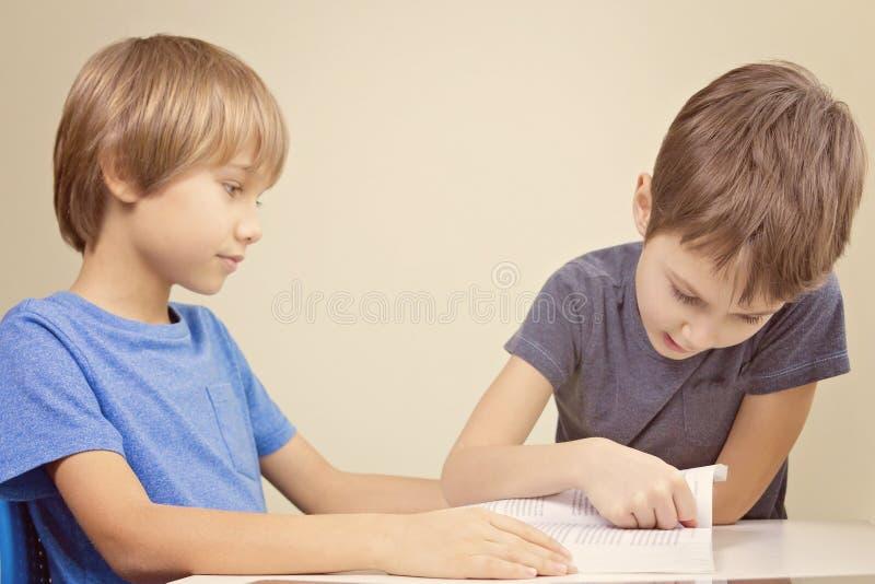 Gosses affichant un livre Lecture de pratique en matière de petit garçon avec son frère image libre de droits