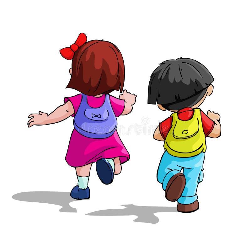 Gosses allant à l'école illustration libre de droits