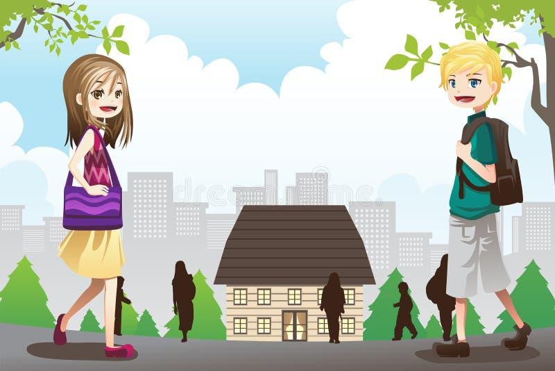 Gosses allant à l'école illustration de vecteur