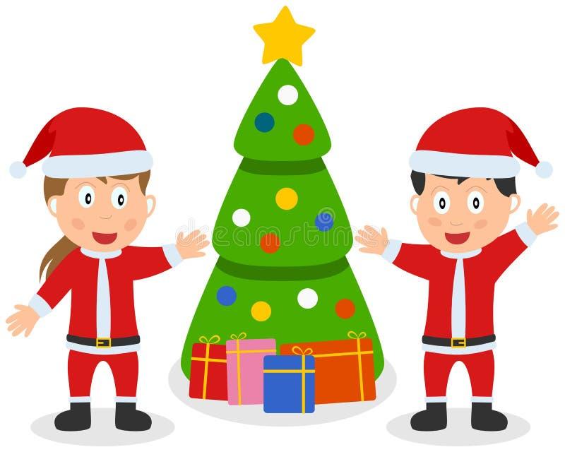 Gosses, arbre et cadeaux du père noël illustration stock