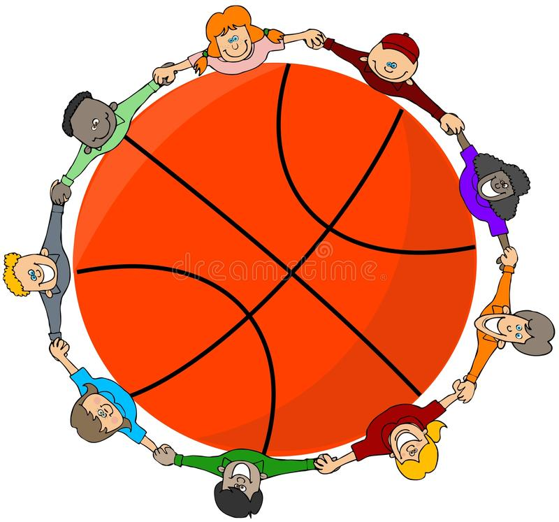 Gosses autour d'un basket-ball illustration de vecteur