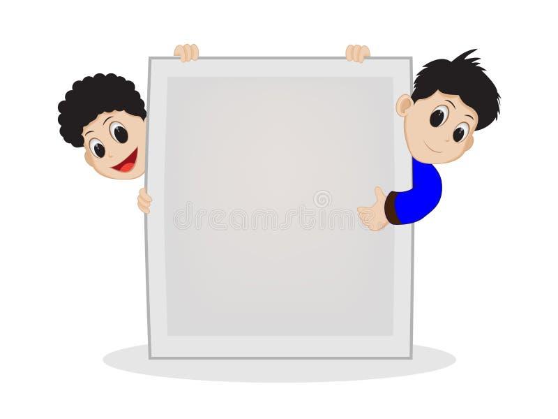 Gosses avec le signe blanc photos stock