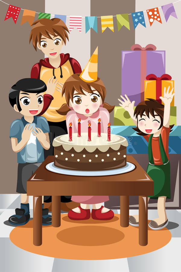Gosses célébrant la fête d'anniversaire illustration libre de droits