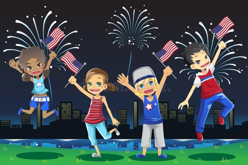 Gosses célébrant le quart de juillet illustration libre de droits