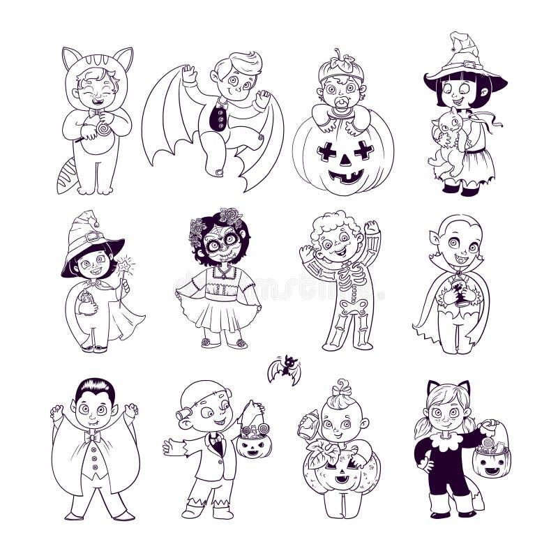 Gosses dans des costumes de Veille de la toussaint Livre de coloriage de Halloween Illustration pour des personnages de dessin an illustration de vecteur