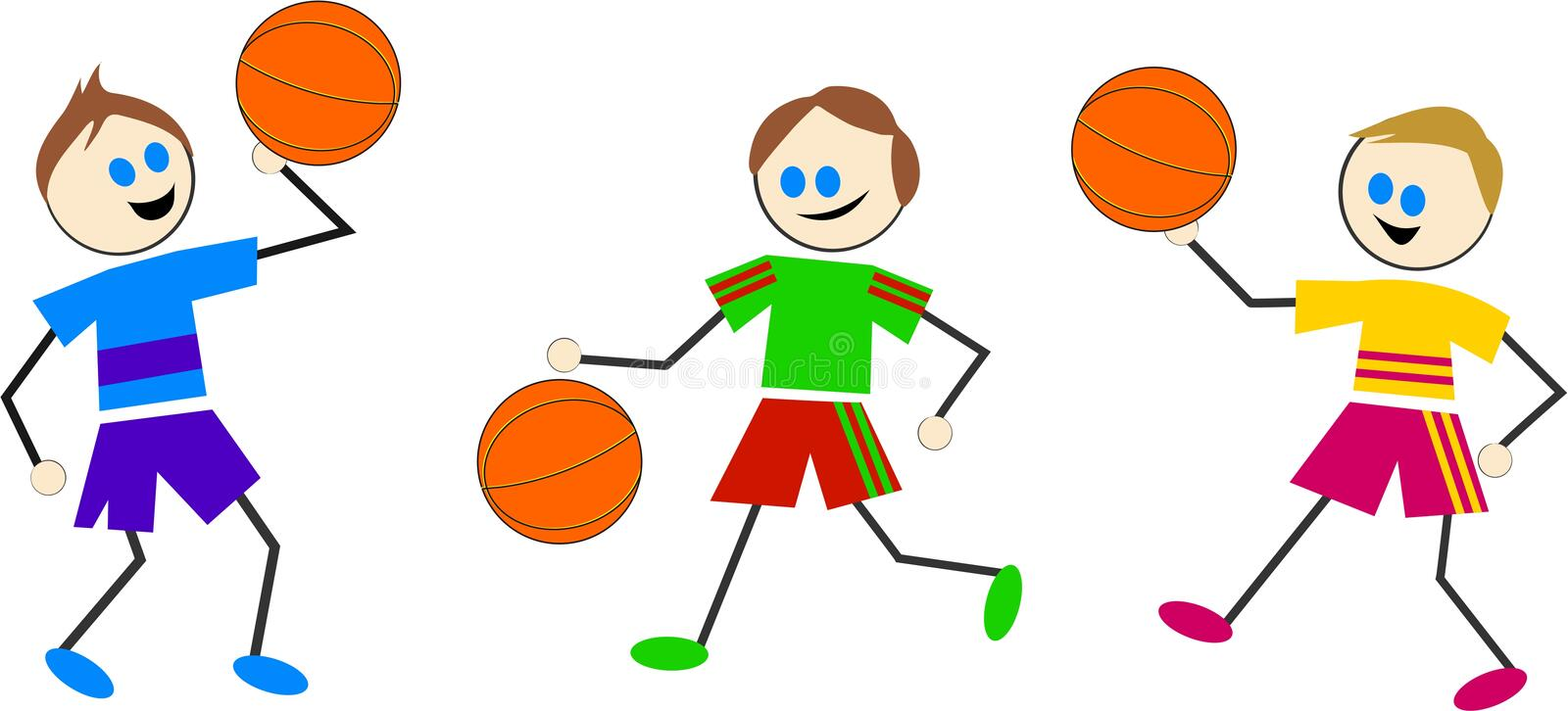 Gosses de basket-ball illustration stock