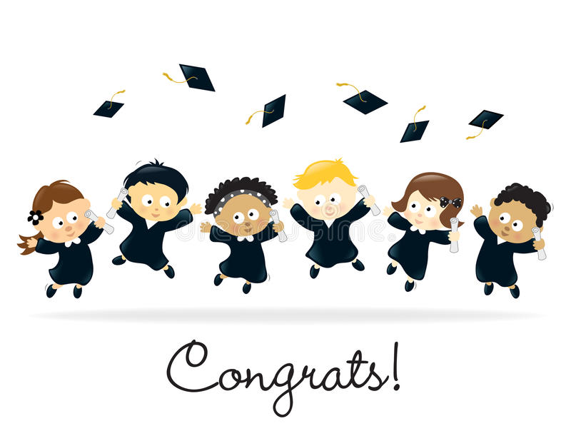 Gosses de graduation - multi-ethniques illustration stock