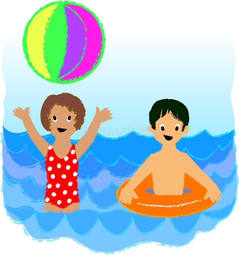 Gosses de plage illustration libre de droits