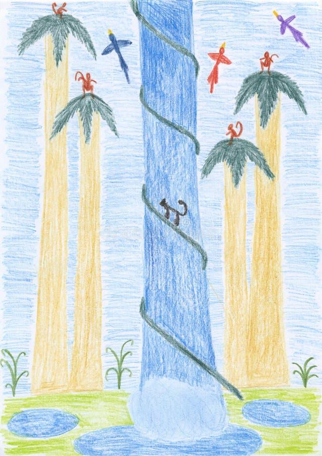 Gosses dessinant - cascade à écriture ligne par ligne tropicale illustration de vecteur
