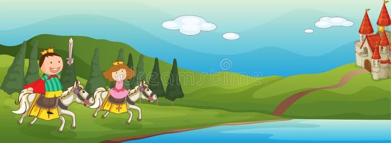 Gosses et cheval illustration de vecteur