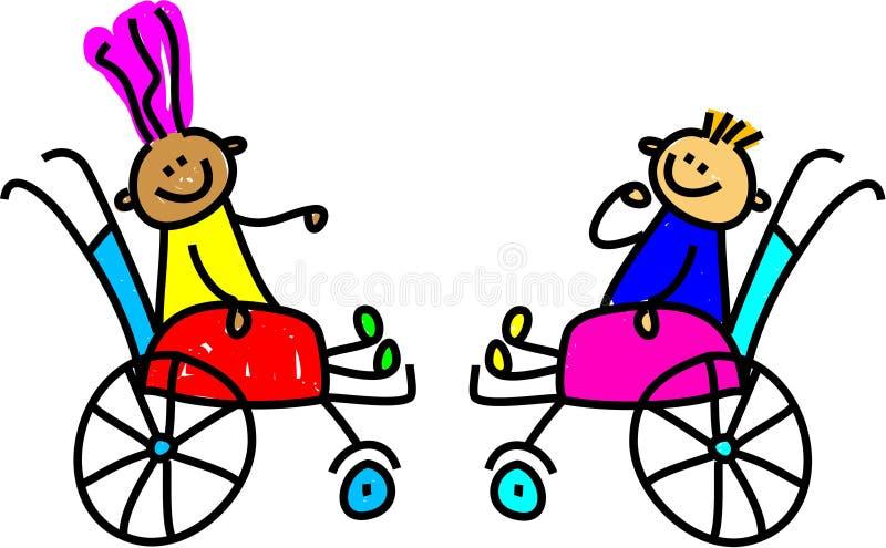 Gosses handicapés illustration stock