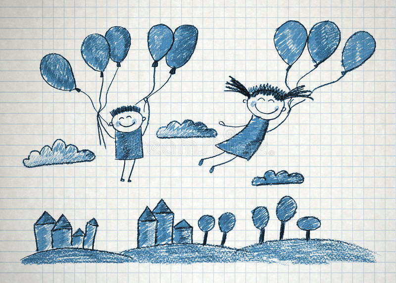 Gosses heureux illustration stock
