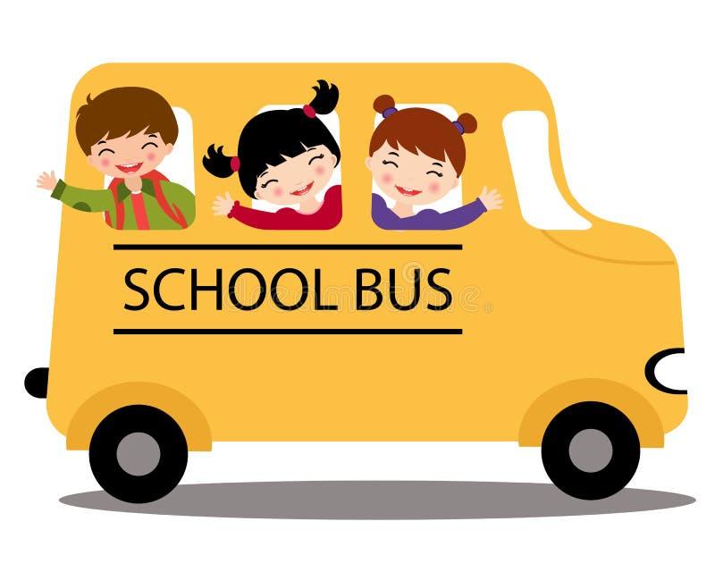 Gosses heureux dans l'autobus scolaire illustration de vecteur