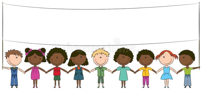 Gosses heureux de différentes nationalités illustration stock