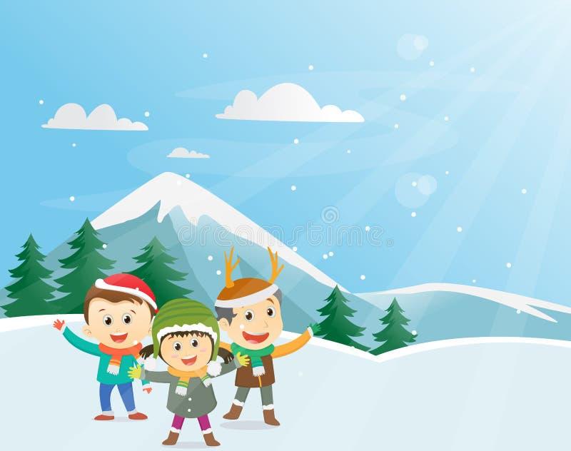 Gosses heureux de l'hiver illustration stock