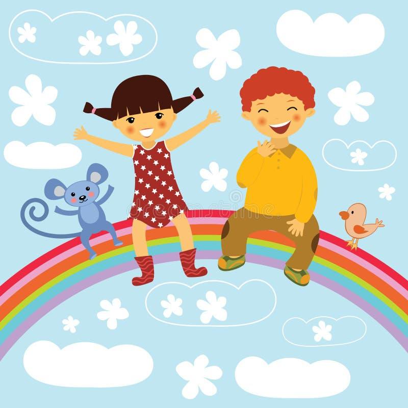 Gosses heureux s'asseyant sur un arc-en-ciel illustration de vecteur