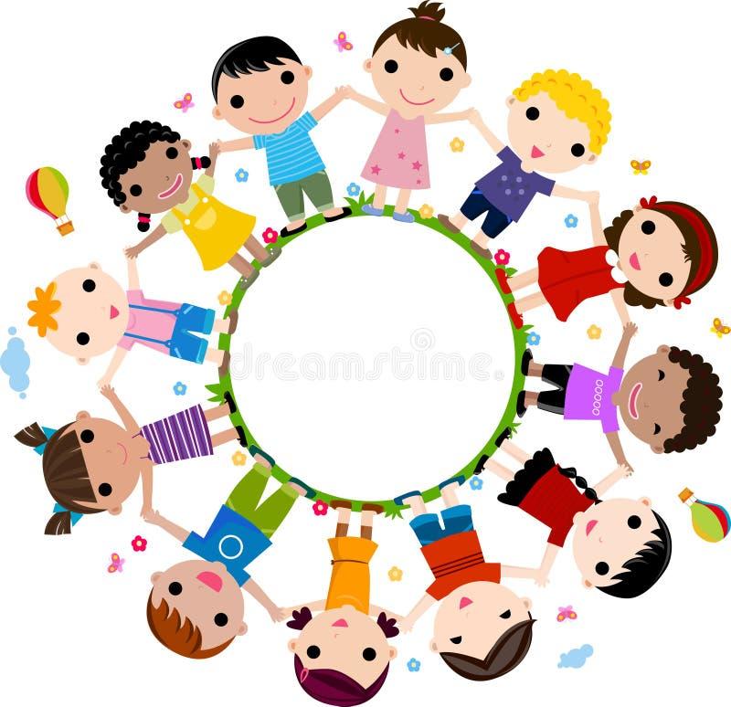 Gosses joignant des mains pour former un cercle illustration libre de droits