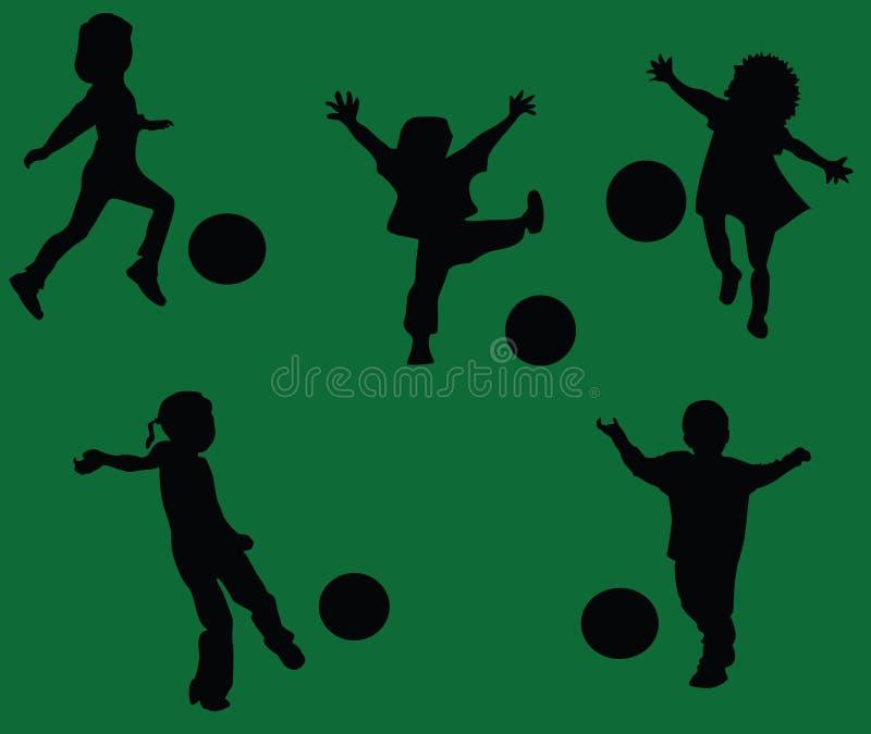 Gosses jouant au football illustration de vecteur