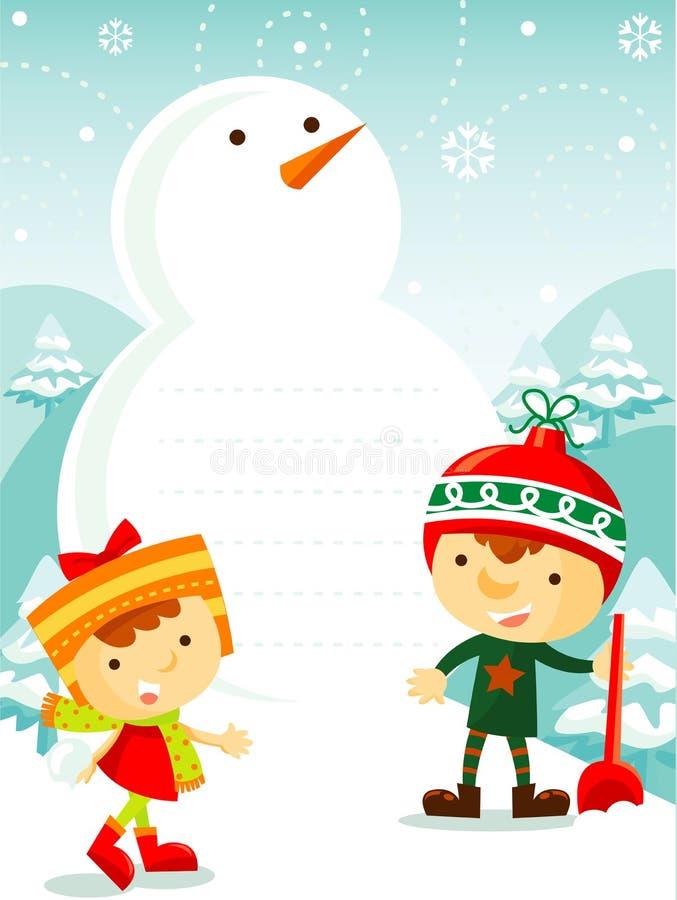 Gosses jouant avec la neige illustration de vecteur