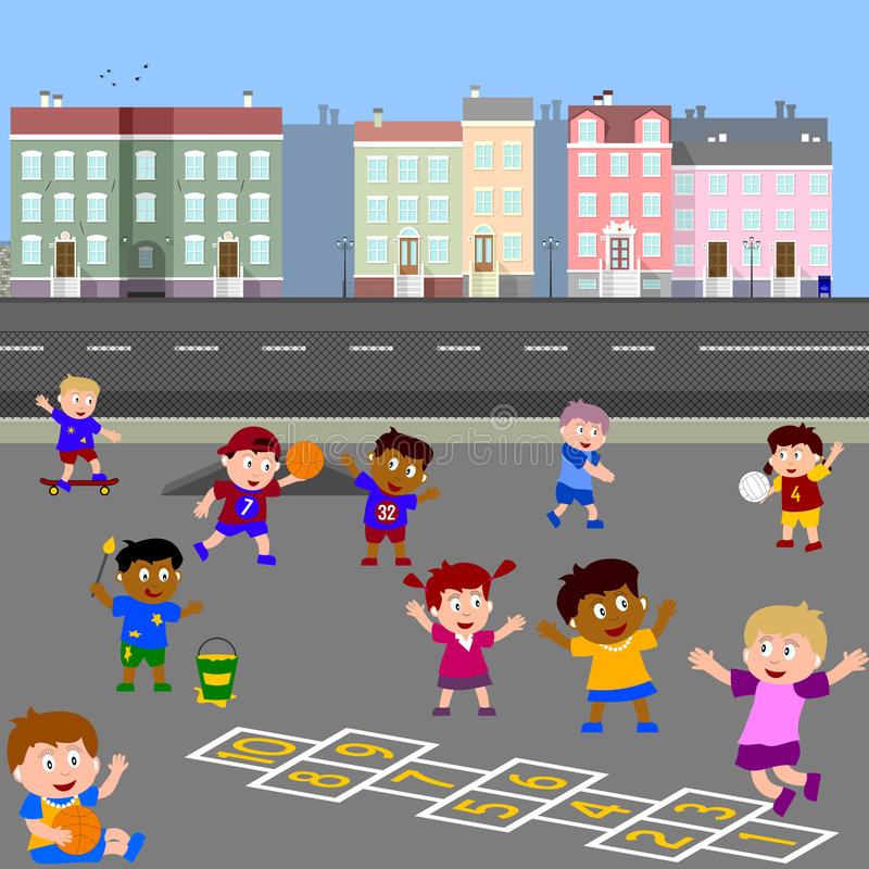 Gosses jouant dans la cour de jeu illustration stock