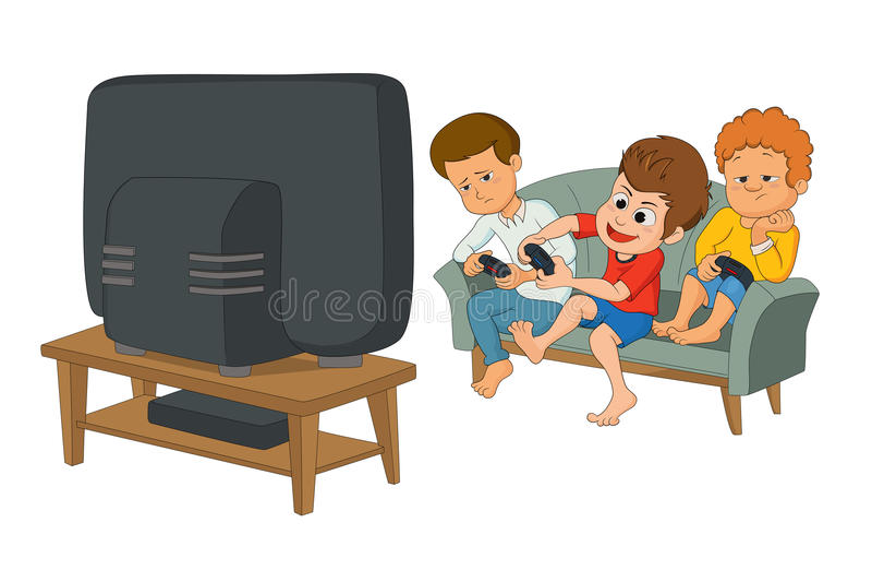 Gosses jouant des jeux vidéo illustration stock