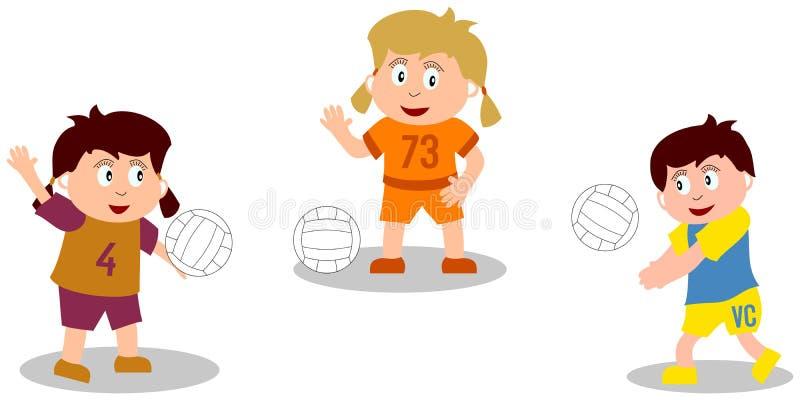 Gosses jouant - volleyball illustration de vecteur