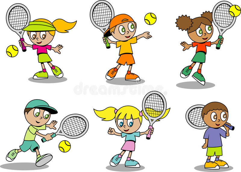 Gosses mignons de tennis illustration stock