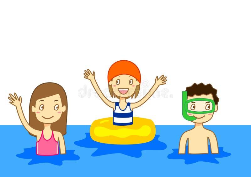 Gosses nageant photo libre de droits