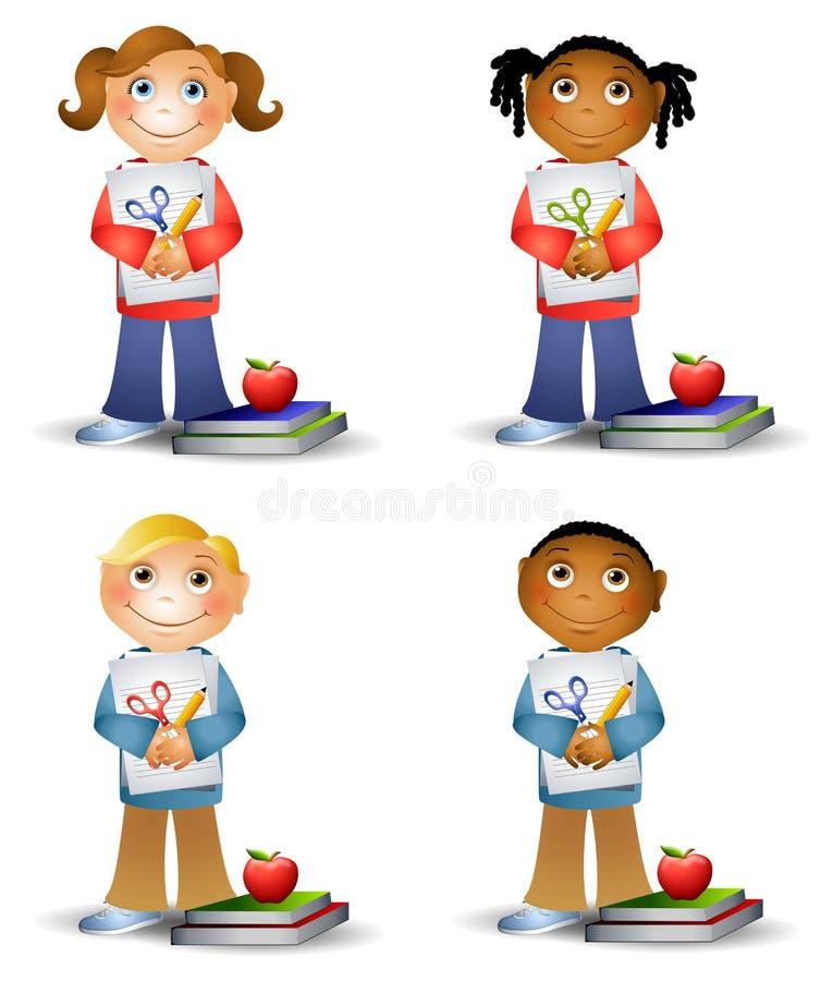 Gosses retenant des approvisionnements d'école illustration libre de droits