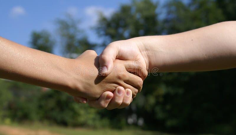 Gosses se serrant la main. images stock