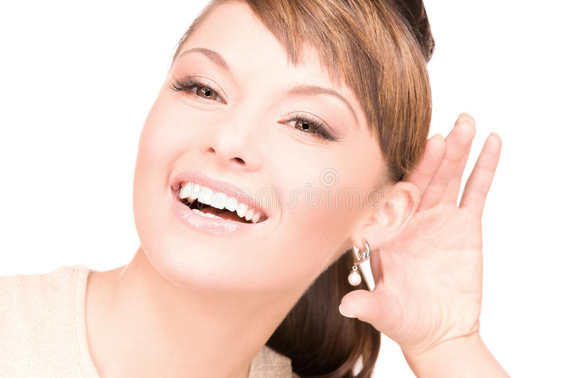 Gossip. Bright picture of young woman listening gossip stock images