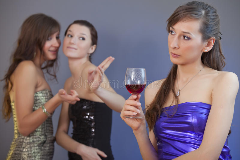 Gossip girls on party stock image
