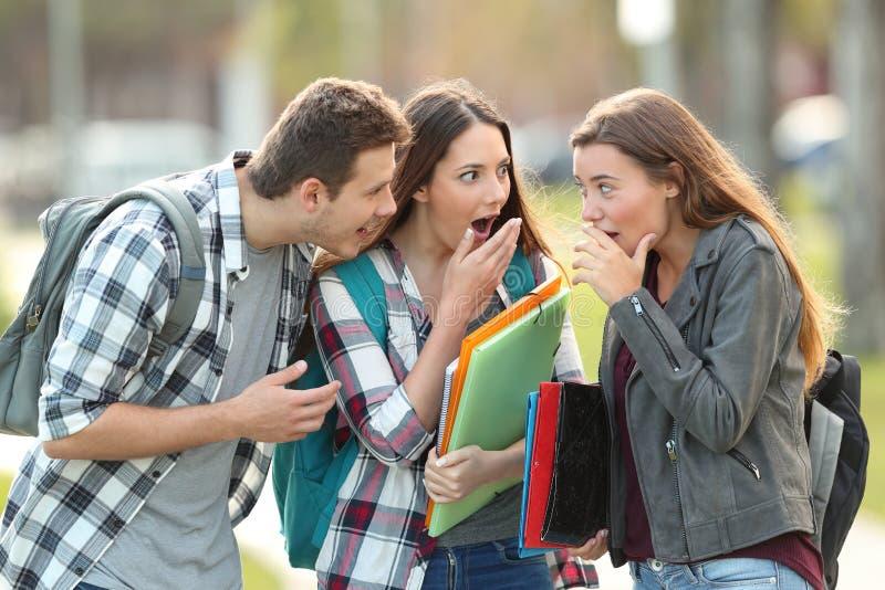 Gossip students telling secrets royalty free stock image