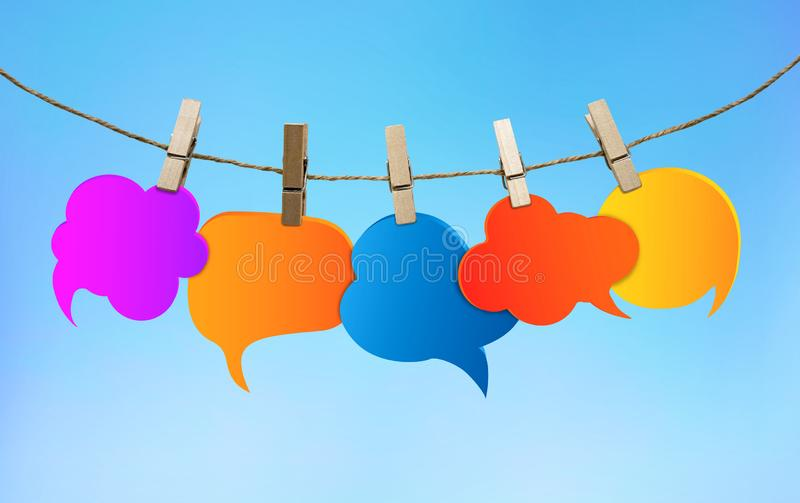 Speech bubble various colors. Gossip. Social network. Chatter speaking and communication. Information. Group of empty balloons. Cl stock illustration