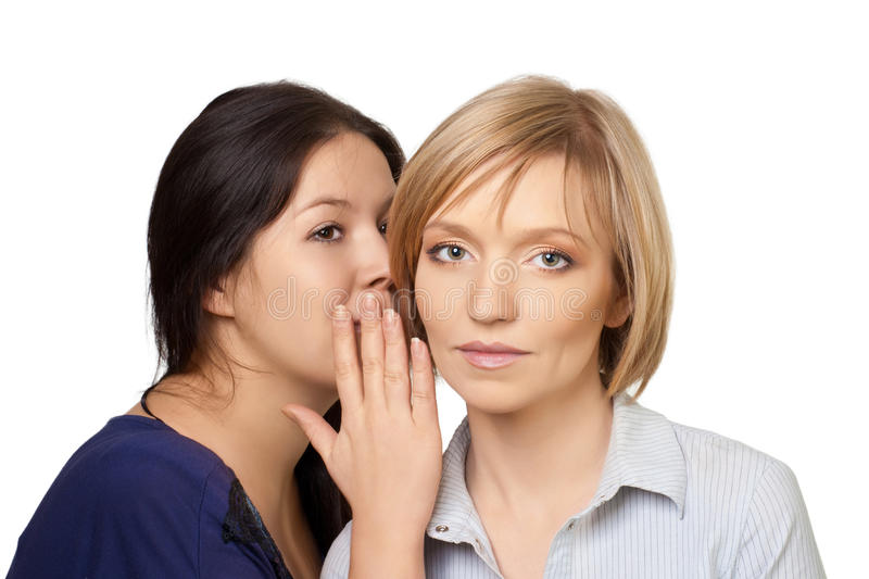 Gossiping women. Close-up portrait of two pretty young women gossiping, over white background royalty free stock image
