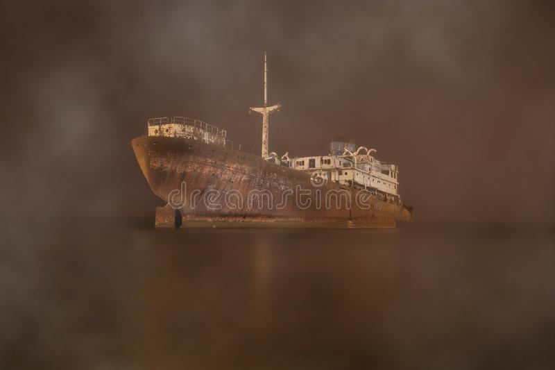 Gost ship in the myst stock photography