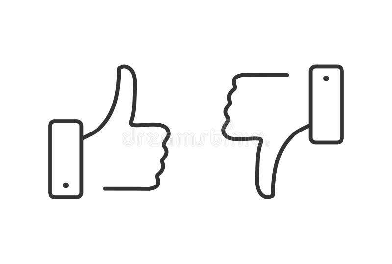 Goste e não goste da linha grupo dos ícones Polegares acima e polegares para baixo Desagrado e como o botão Qualidade superior El ilustração royalty free