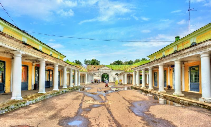 Gostiny Dvor, arcadas de troca neoclássicos provinciais em Kostroma, Rússia fotografia de stock royalty free
