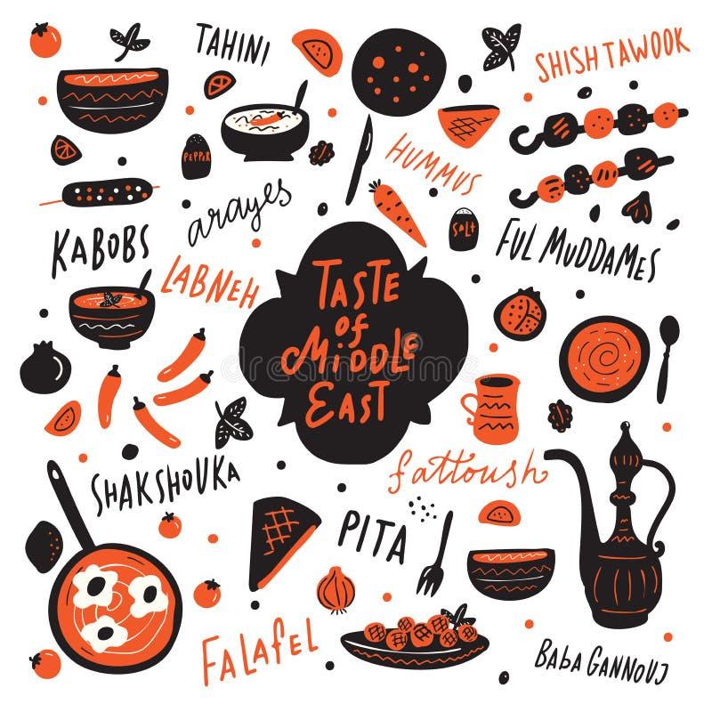 Gosto da ilustração tirada de Médio Oriente mão engraçada com alimento do Oriente Médio diferente e para entregar nomes escritos  ilustração stock