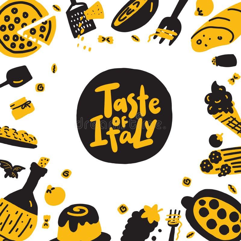 Gosto de Itália Mão engraçada ilustração tirada do alimento italiano tradicional Molde do menu ilustração do vetor