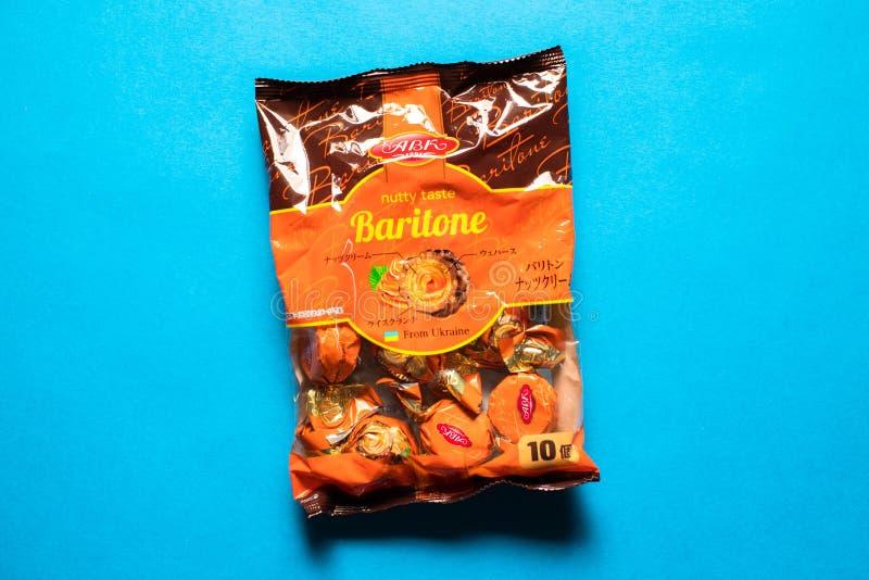 Gosto de noz do barítono dos doces de ABK - doces ucranianos famosos fotografia de stock