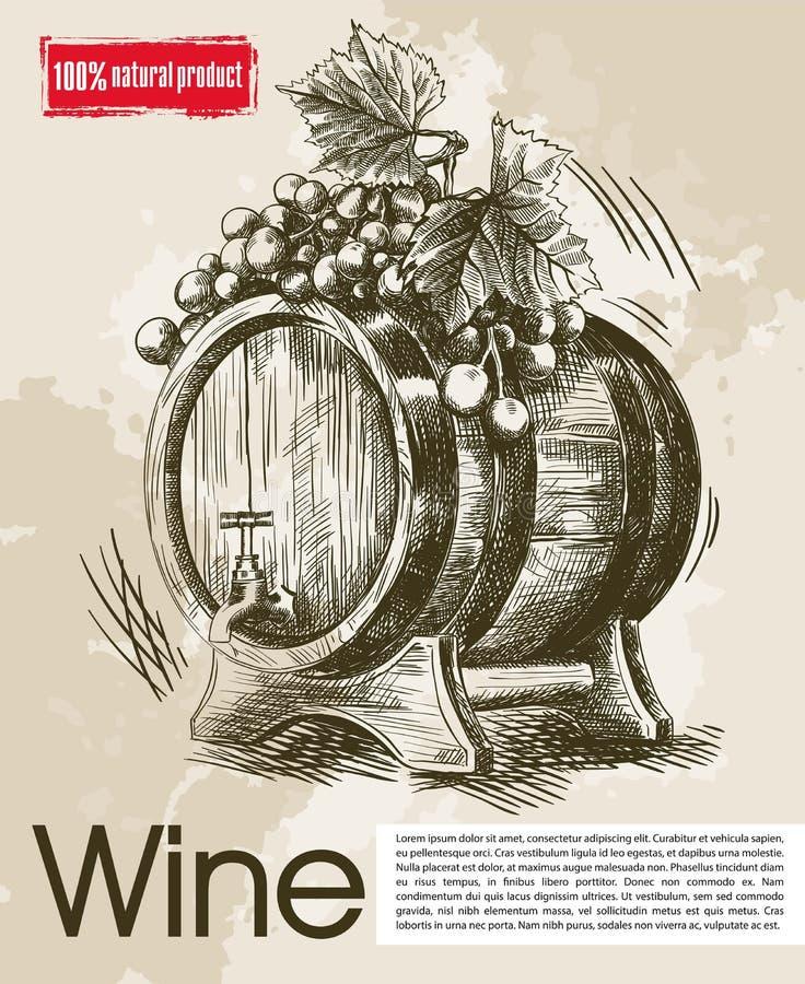 Gosto de vinhos do vintage ilustração stock