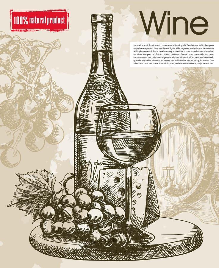 Gosto de vinhos do vintage ilustração do vetor