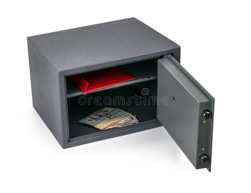 Gotówkowego pieniądze bezpieczny depozytowy pudełko odizolowywający na bielu zdjęcia stock