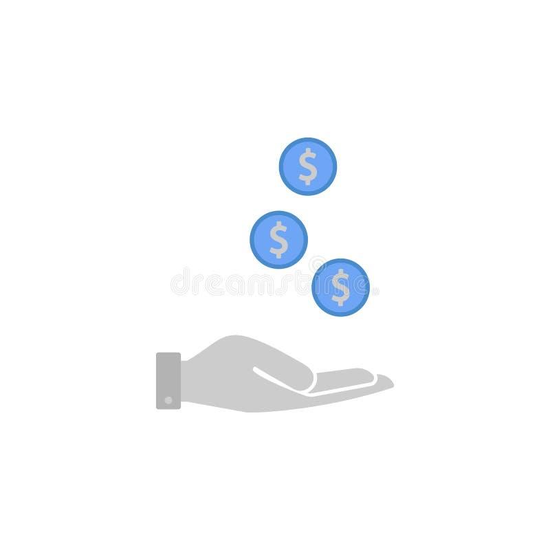 Gotówka, finanse, dostawanie, monety, pieniądze dwa barwi błękitną i szarą ikonę royalty ilustracja