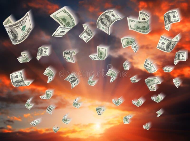 Gotówka, papierowi dolary, spada royalty ilustracja