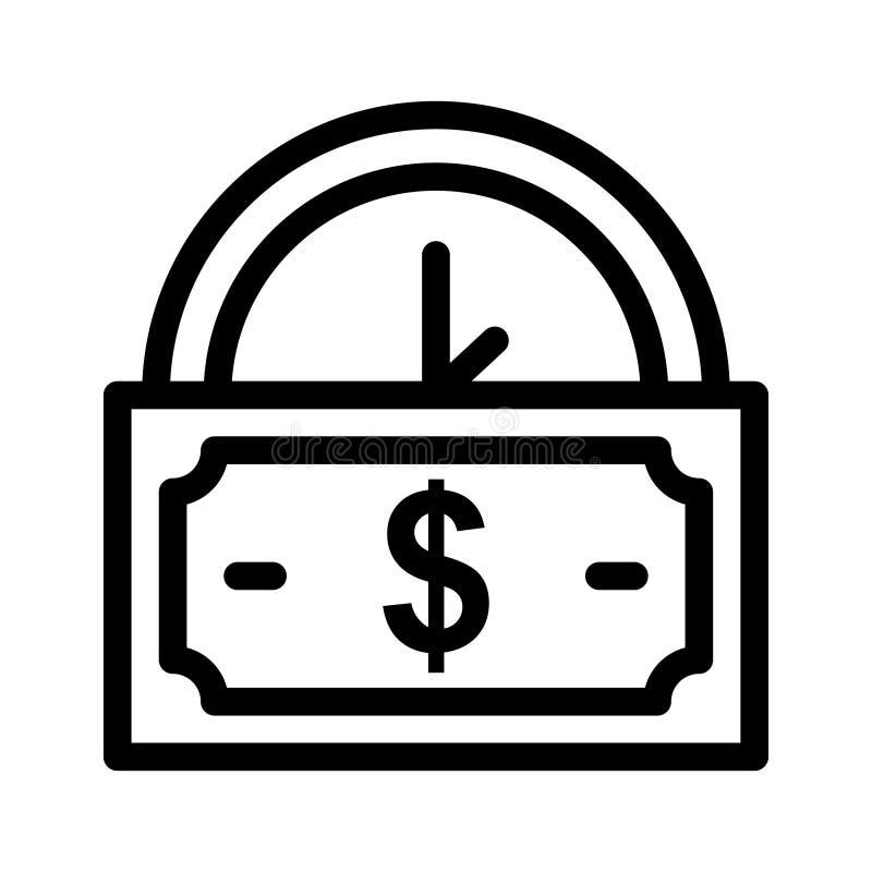 Gotówkowa zegarowa ikona ilustracji