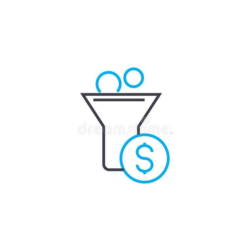 Gotówkowego dopływu 83 wektoru uderzenia cienka kreskowa ikona Gotówkowego dopływu 83 konturu ilustracja, liniowy znak, symbolu p ilustracja wektor